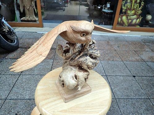 梟(フクロウ)_木彫り(金運、幸福、魔除け)