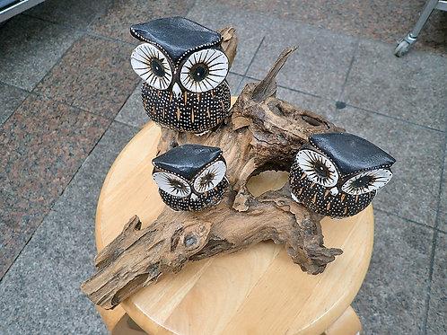 三羽の梟(フクロウ)_木彫り(金運、幸福、魔除け)