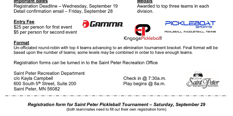 St Peter 1st Annual Swing Out Of Summer Pickleball Tourney
