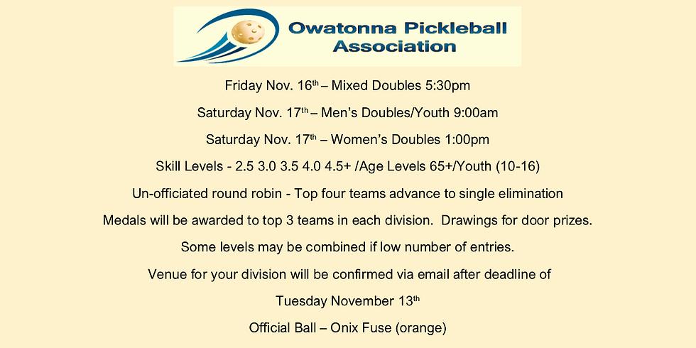 6th Annual Fall Owatonna Pickleball Association Tournament