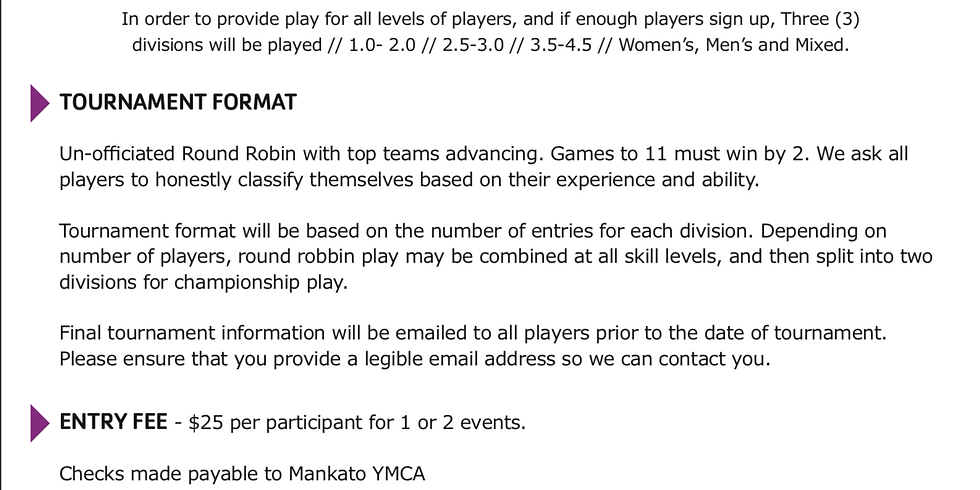"""Spring 2019 Mankato Family YMCA """"Battle of the Paddle"""" Indoor Pickleball Tournament"""