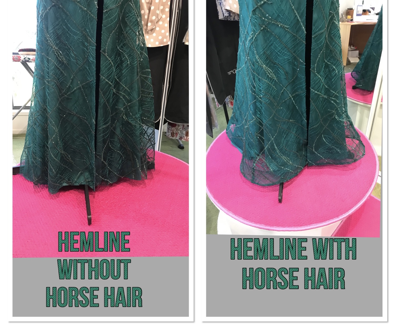 horse hair hemline alteration