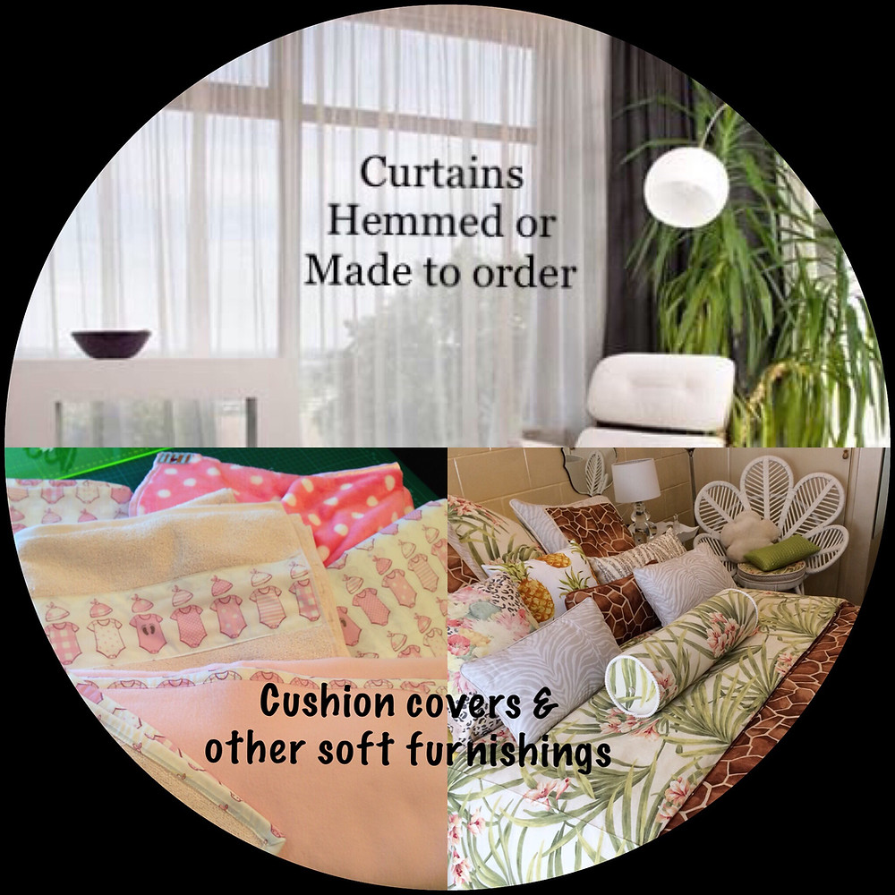 Curtains hemmed or made to order custom cushion covers