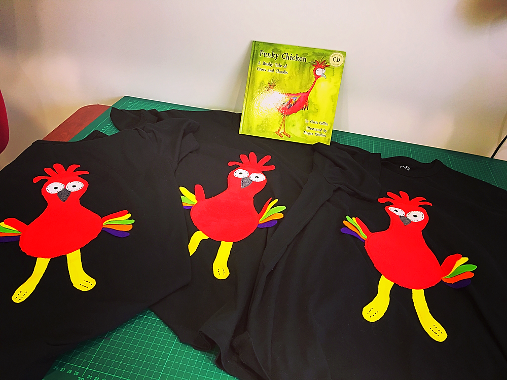 Applique Funky Chicken T shirts customised