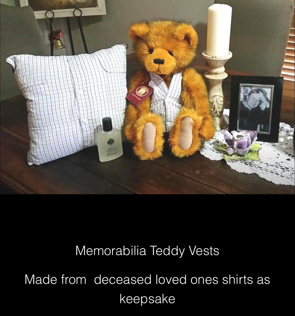 Deceased Pillow/cushion and Teddy Vest Memorabilia loved ones memories