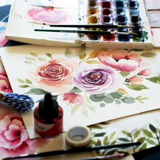 Akvareleové květiny