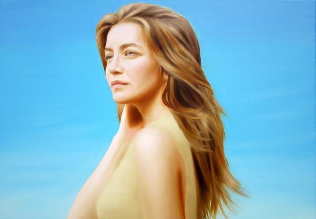 Looking at the sun   portrait of Kamilla Baar