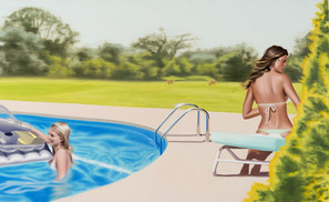 Two woman at the pool