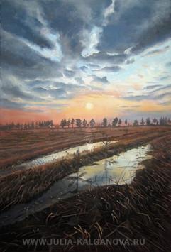 """Осенний закат"" 60х40 2009 год. Картина продана"