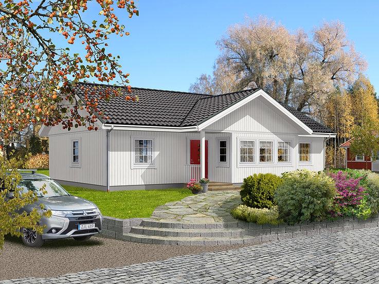 Enplanshus Blågården 110 m2, förskjuten entré