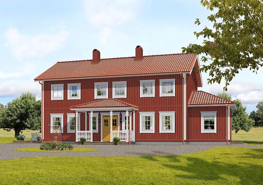 tvåplanshus inspirerat av en herrgård från sekelskiftet med pardörr i Guldockra, tegelröda hängrännor, faluröd fasad och vita knutar och foder