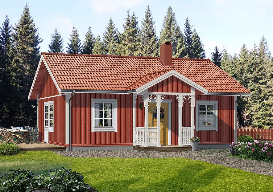 55 m2 stort enplanshus med smart planlösning, Faluröd fasad, vita knutar och ytterdörr i guldockra
