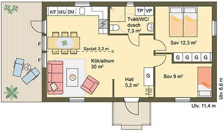 65 m2 enplanshus med saxtak och öppen planlösning mellan kök och vardagsrum, två sovrum och praktiskt kombinerat badrum och tvättstuga