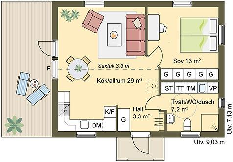 enplanshus 55 m2 med saxtak och öppen planlösning mellan kök och vardagsrum