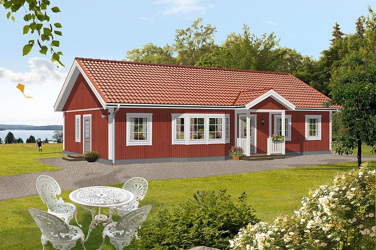 Enplanshus Tärnan 118 m2, faluröd fasad.