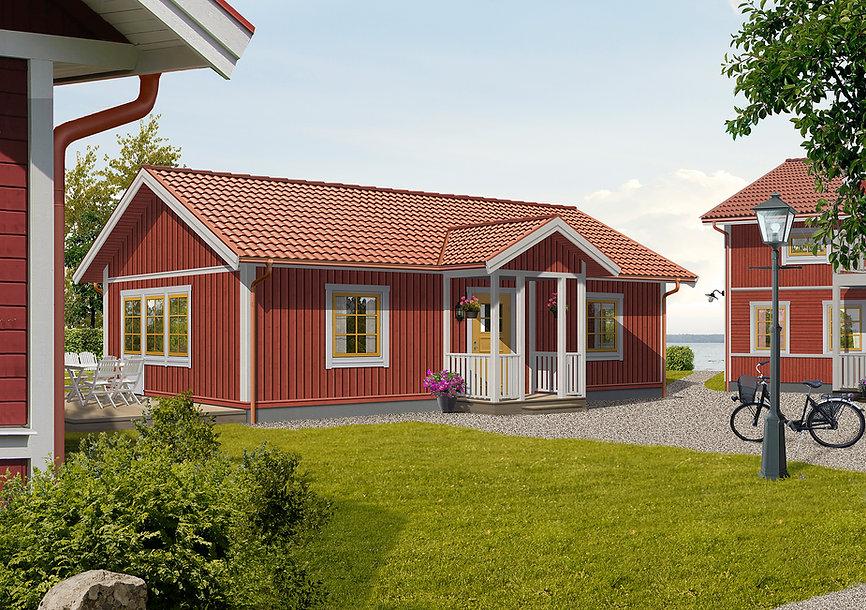 65 m2 stort falurött enplanshus med effektiv planlösning