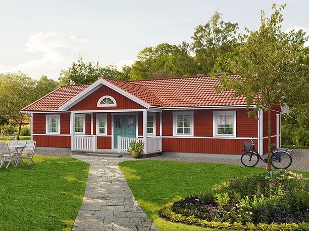 enplanshus Valloxen 124 m2 halvmånefönster och pardörr.