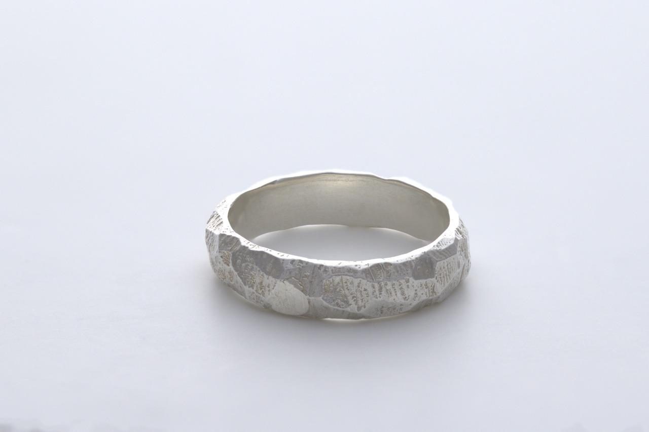 Man Silver Band Ring Organic