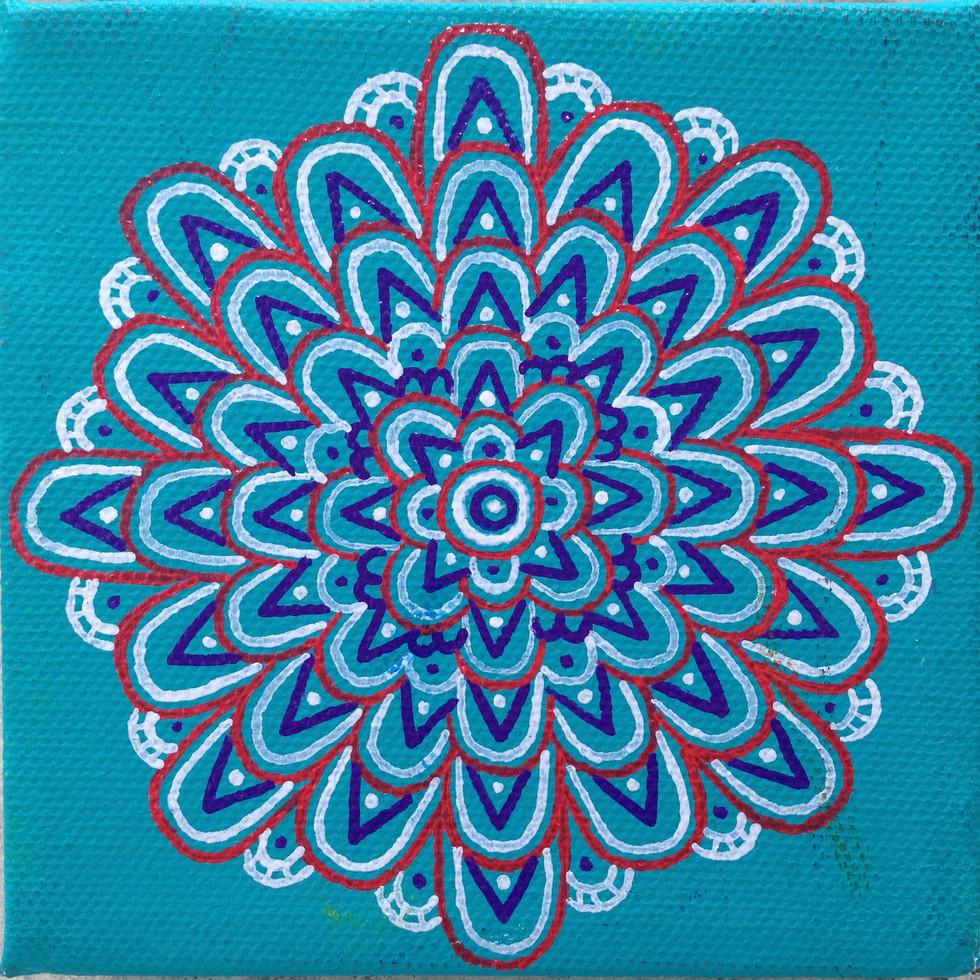 Fractal Flowers Series  10 x 10 cm  pen,acrylic on canvas_