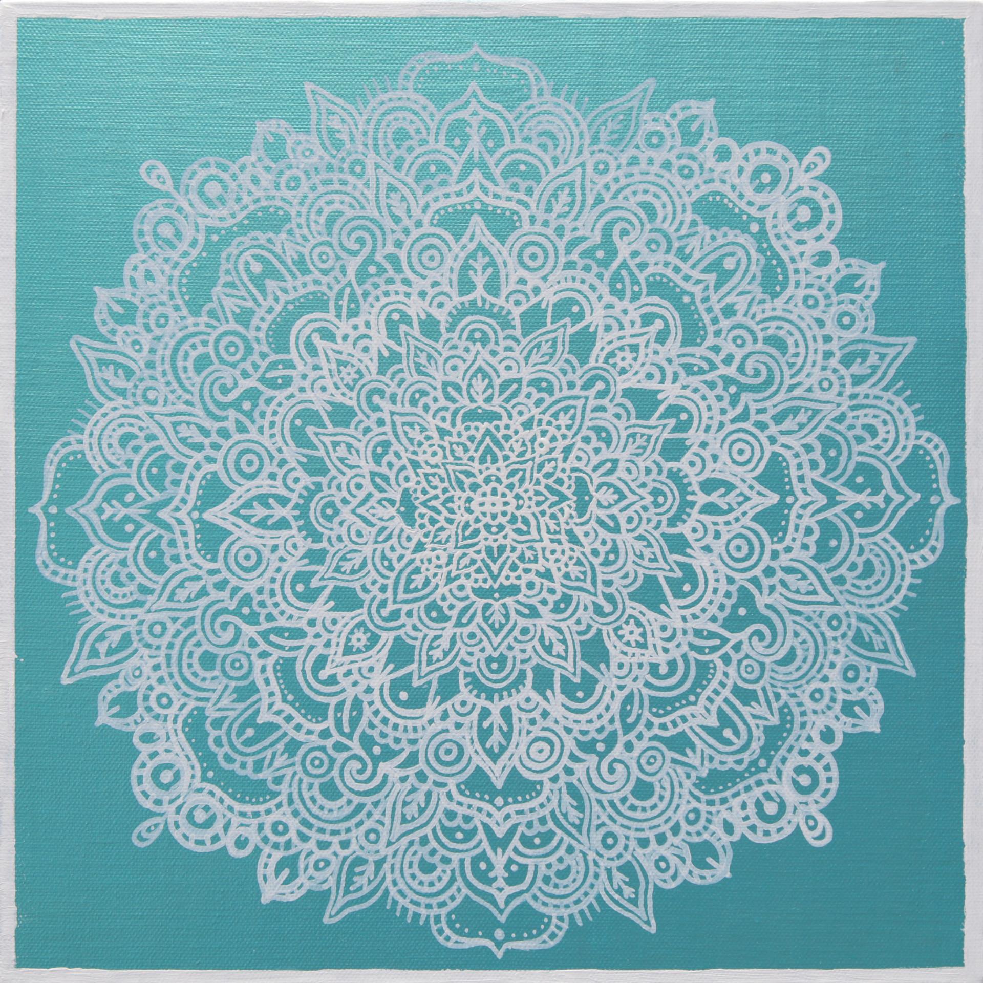 Fractal Flowers Series  30 x 30 cm  pen,acrylic on canvas_