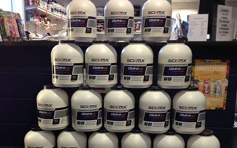 SCIMX and other fitness supplements, snacks and protein shakes available at Physique Fitness.