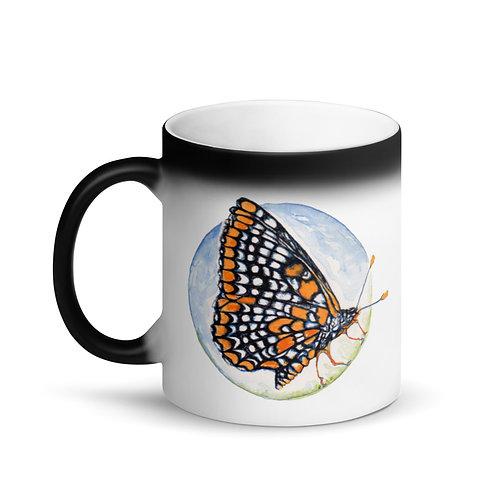 Checkerspot Butterfly ~ Matte Black Magic Mug