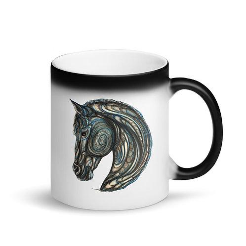 Tribal Horse ~ Matte Black Magic Mug