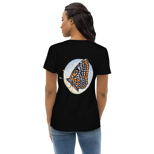 Checkerspot Butterfly (wings closed on back) ~ Women's fitted eco tee