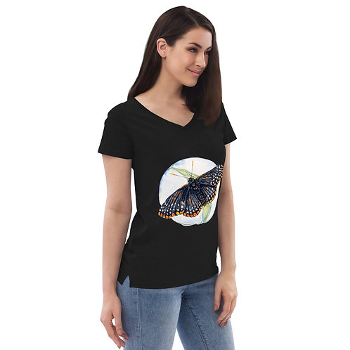 Checkerspot Butterfly (wings open - on front) ~ Women's recycled v-neck t-shirt