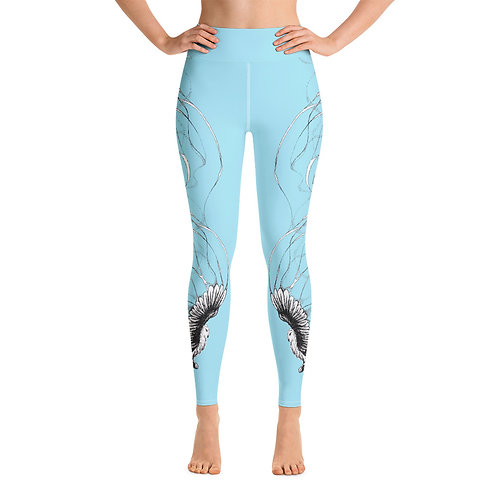 Star Burnt Sky ~ Yoga Leggings in Sky Blue