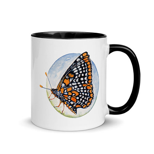 Checkerspot Butterfly ~ Mug with Color Inside