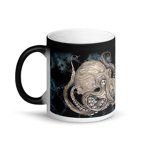 Kraken Black & Blue background ~ Matte Black Magic Mug