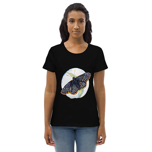 Checkerspot Butterfly (wings open on front) ~ Women's fitted eco tee