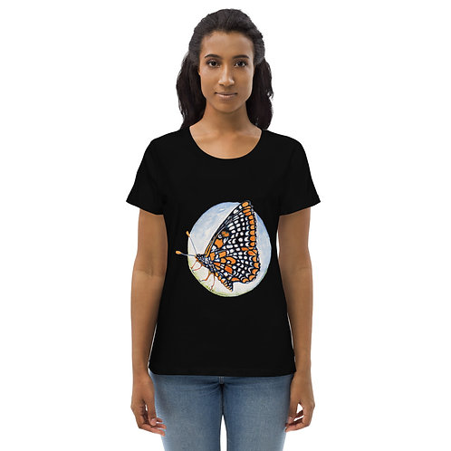 Checkerspot Butterfly (wings closed on front) ~ Women's fitted eco tee