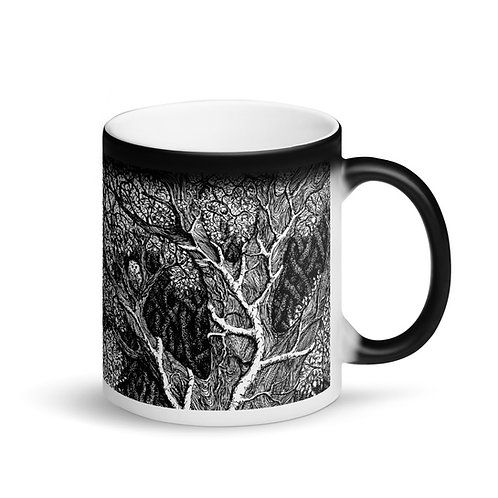 Owl in tree ~ Matte Black Magic Mug
