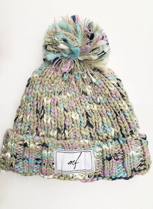 Grey multi knit hat