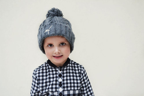Kids Grey Cable Knit Hat