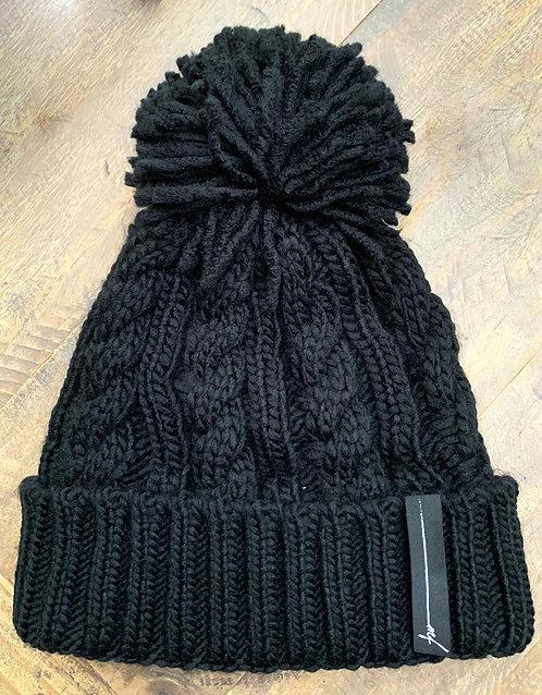 Black pompom hat