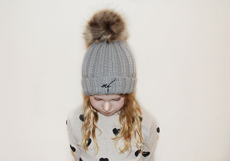 Grey fur pom pom hat