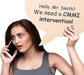 "Woman Talking on Phone Saying ""Hello, Mr. Smith? We Need A CMMI Intervention!"""