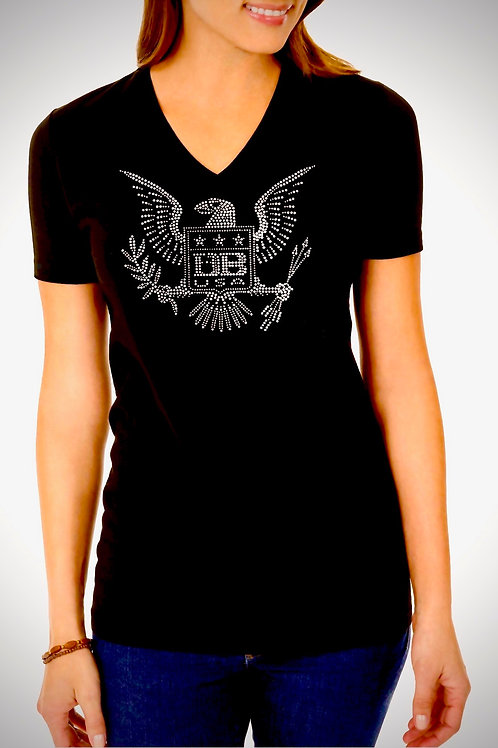 DB USA Freedom Eagle *Rhinestone* Ladies V-Neck
