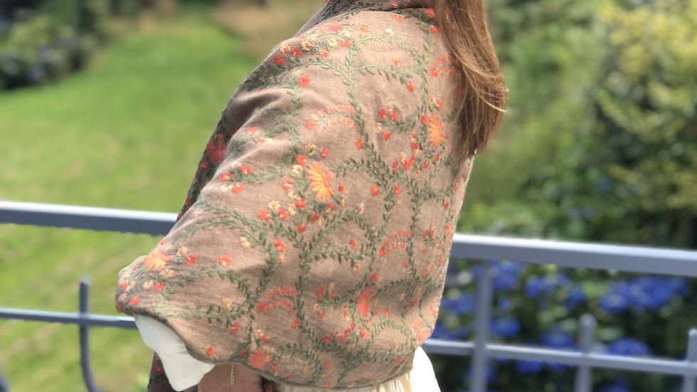 Handmade Embroidered Shawl or Scarf 100% wool from Manali
