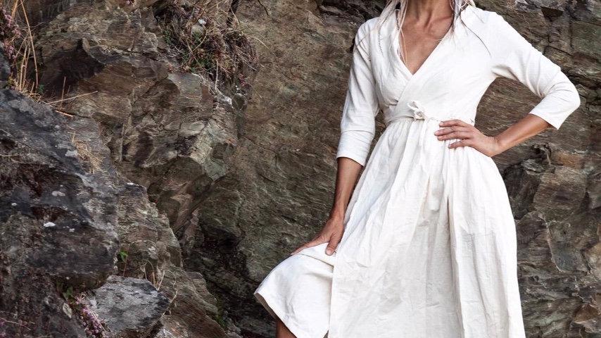 Organic Bamboo and Cotton mix Cream Wraparound Dress