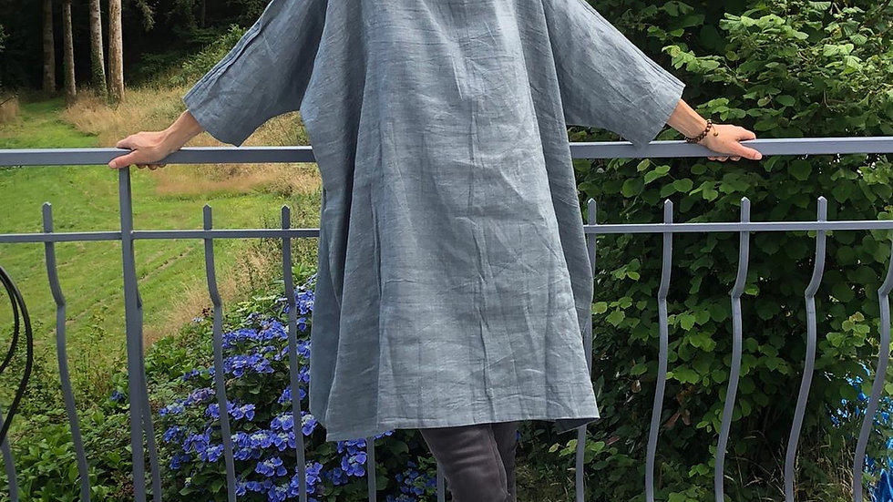 Raw Silk and Cotton Dress with hand knitted collar