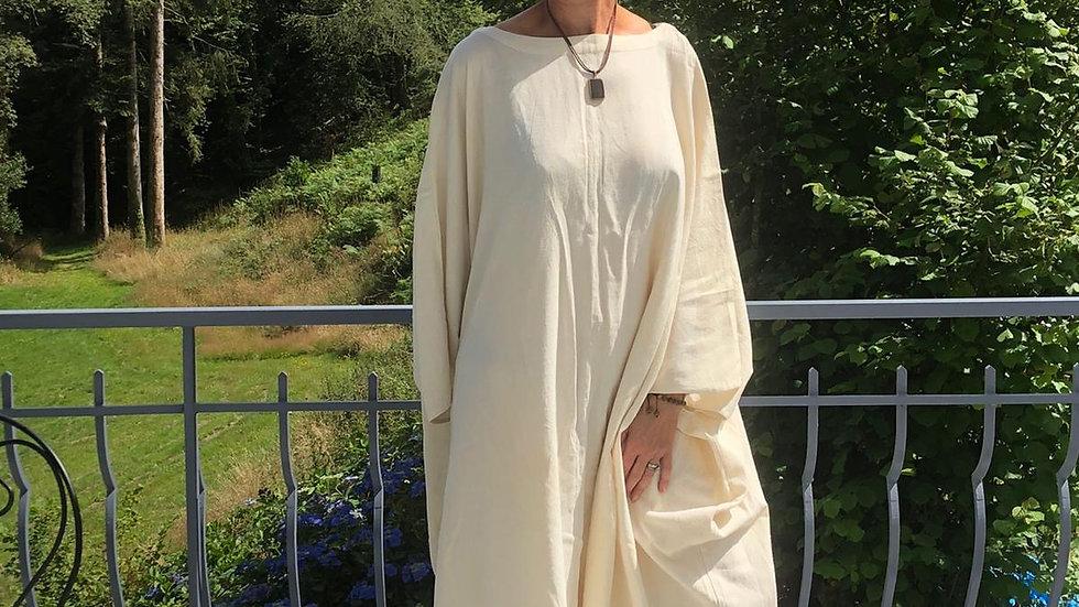 Cream Organic Cotton handloom woven Dress - One Size