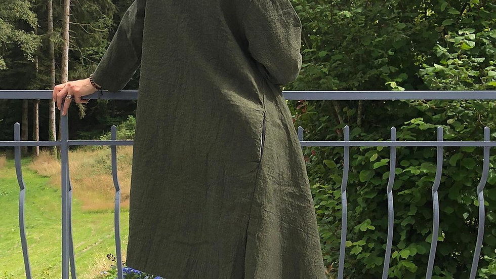 Kimono Style Organic Cotton Green Woman's Coat - One Size