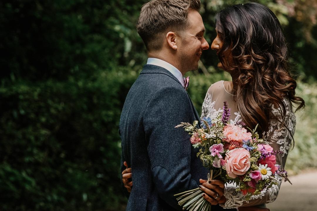 Boho, lace wedding dress, wild flower bouquet, tweed groom suit