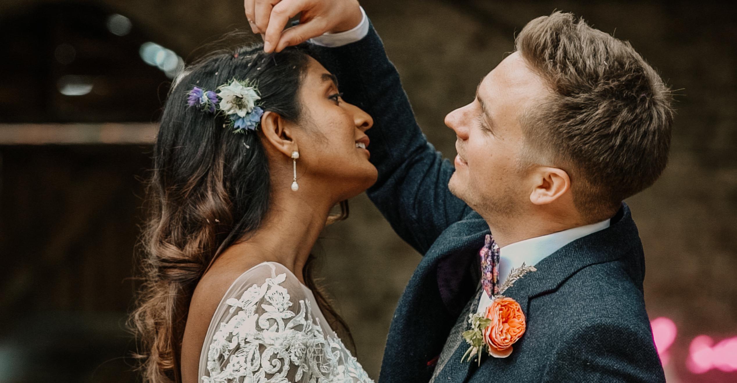 Alternative, boho Bride and Groom