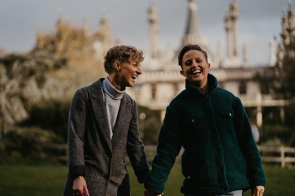 Gay couple shoot at Brighton Pavilion. Happy, natural and fun wedding photography