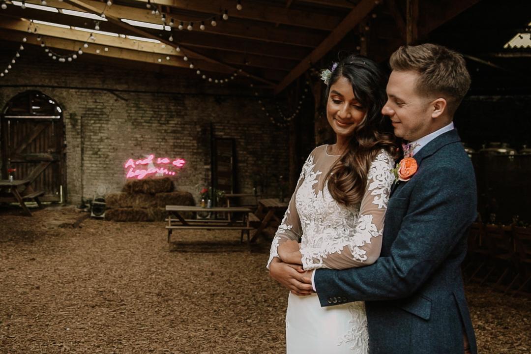 Neon wedding sign, exposed brick, industrial, rustic, edgy wedding venue